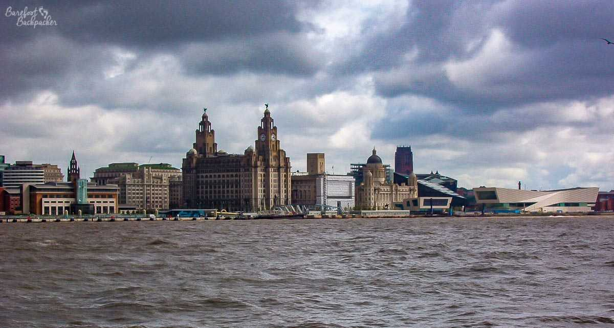 Liverpool's waterfront, as seen from the River Mersey.