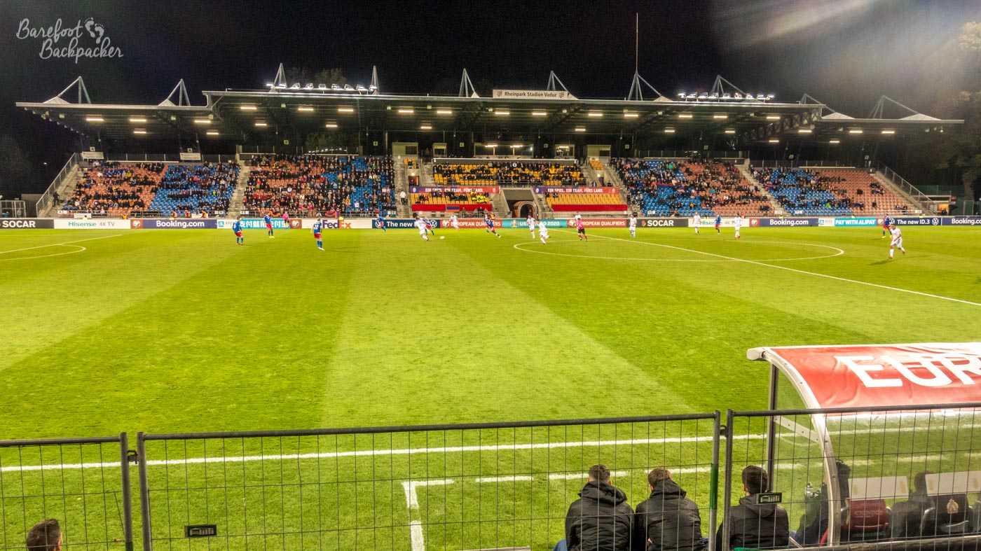 Rheinpark Stadium, Vaduz, one Saturday evening in October 2019 - a sparse crowd watching Liechtenstein play Armenia in a men's football match.