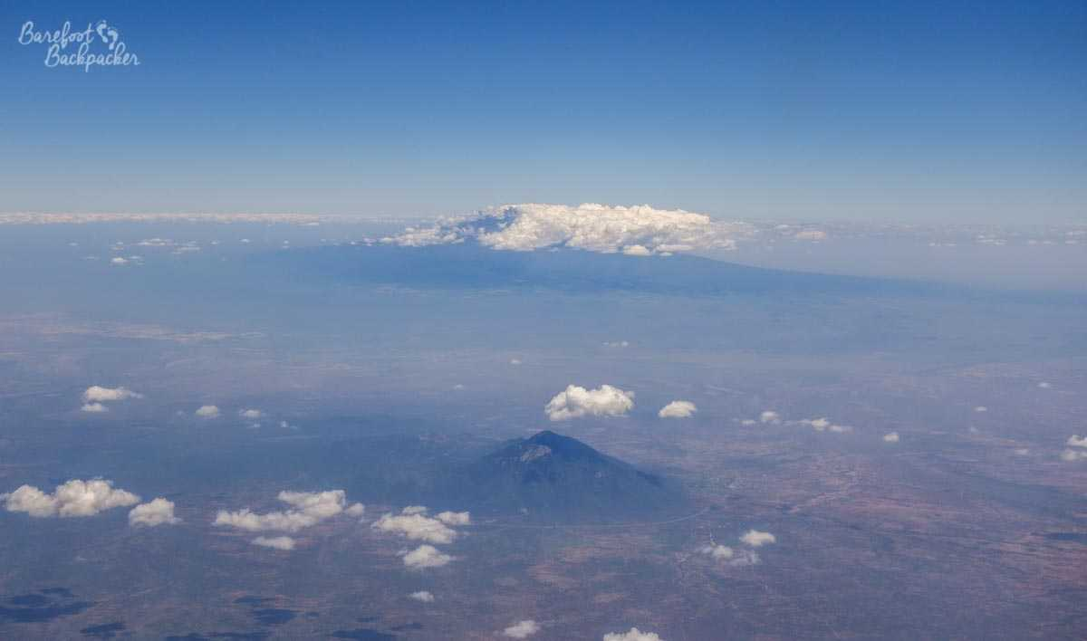 Mount Kilimanjaro, as seen from the aeroplane as we passed by it