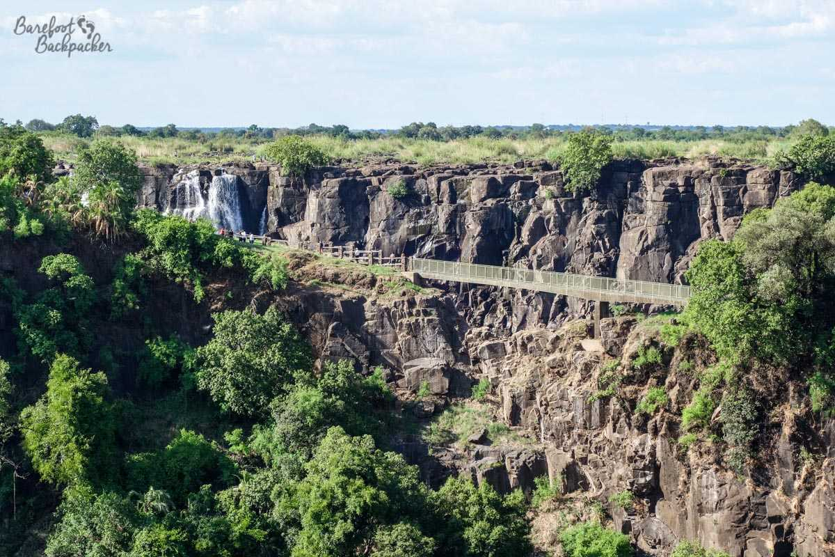 Knife Edge Bridge at Victoria Falls – a quite narrow bridge with the cliff edge of the falls behind it