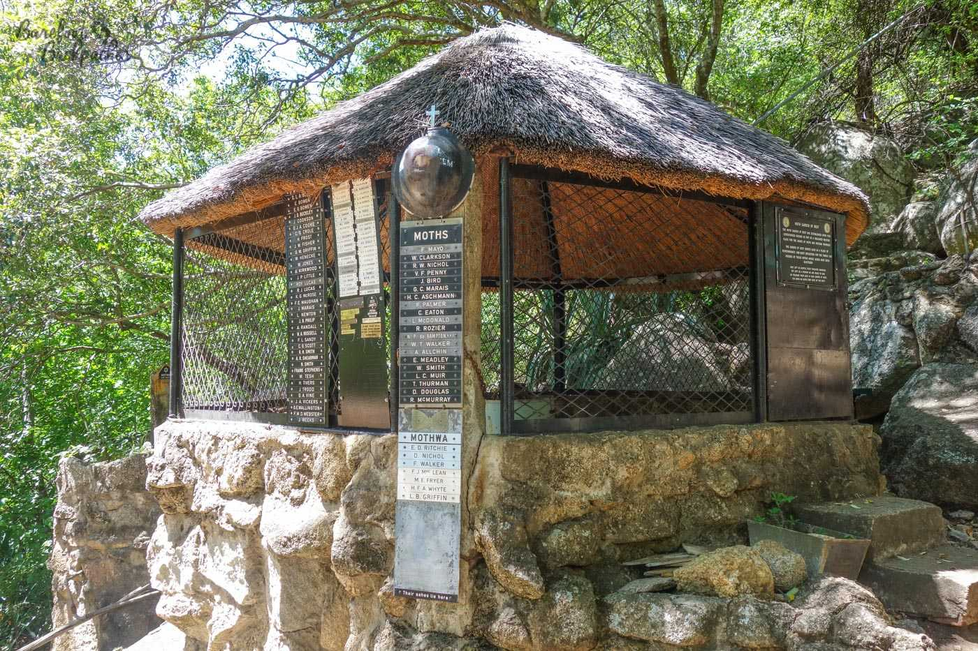 The MOTH shelter in the Matabo Hills, complete with dedication to the fallen.