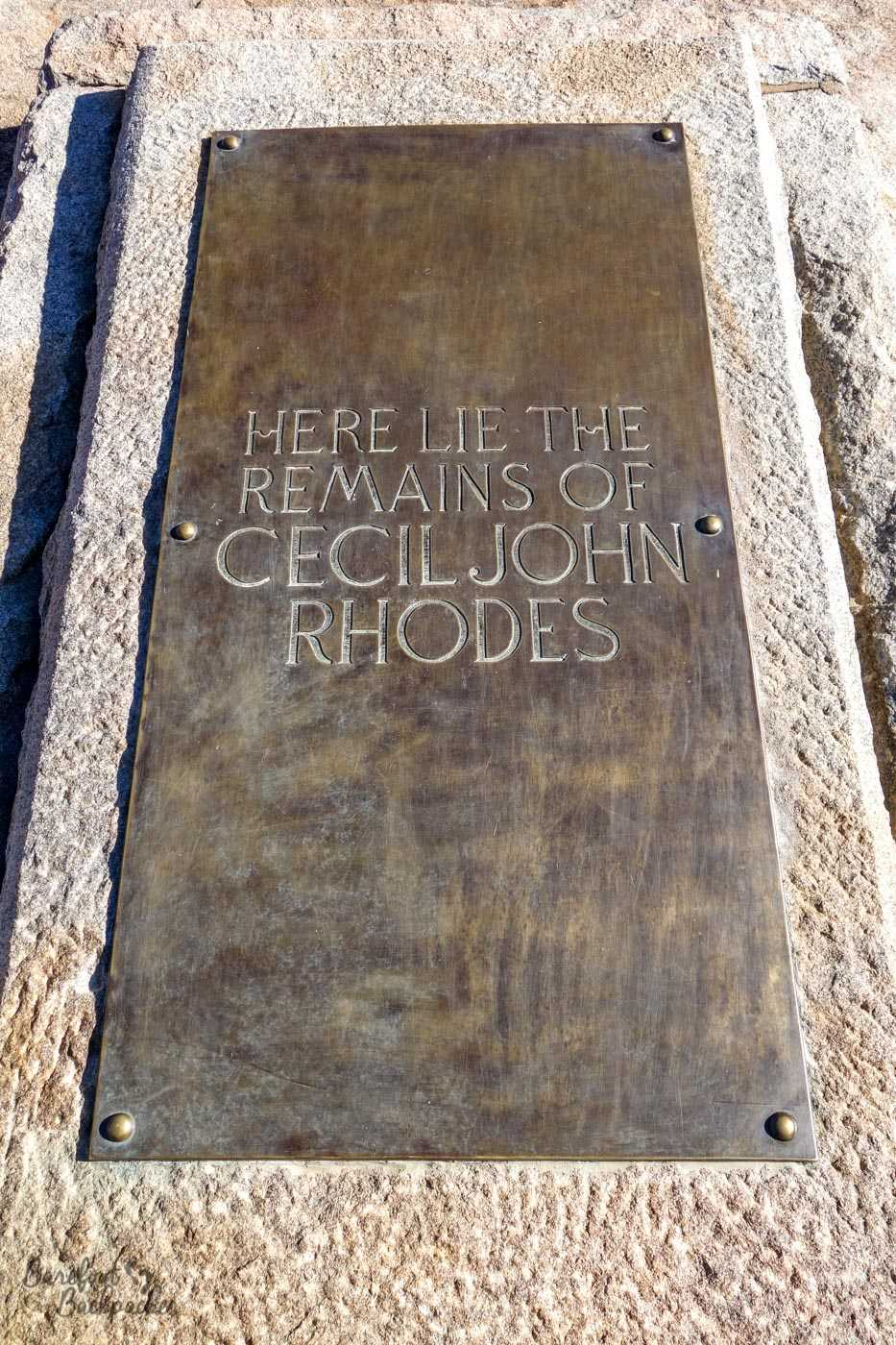 Cecil Rhodes' Gravestone – flat, at the top of the hill at World's View.
