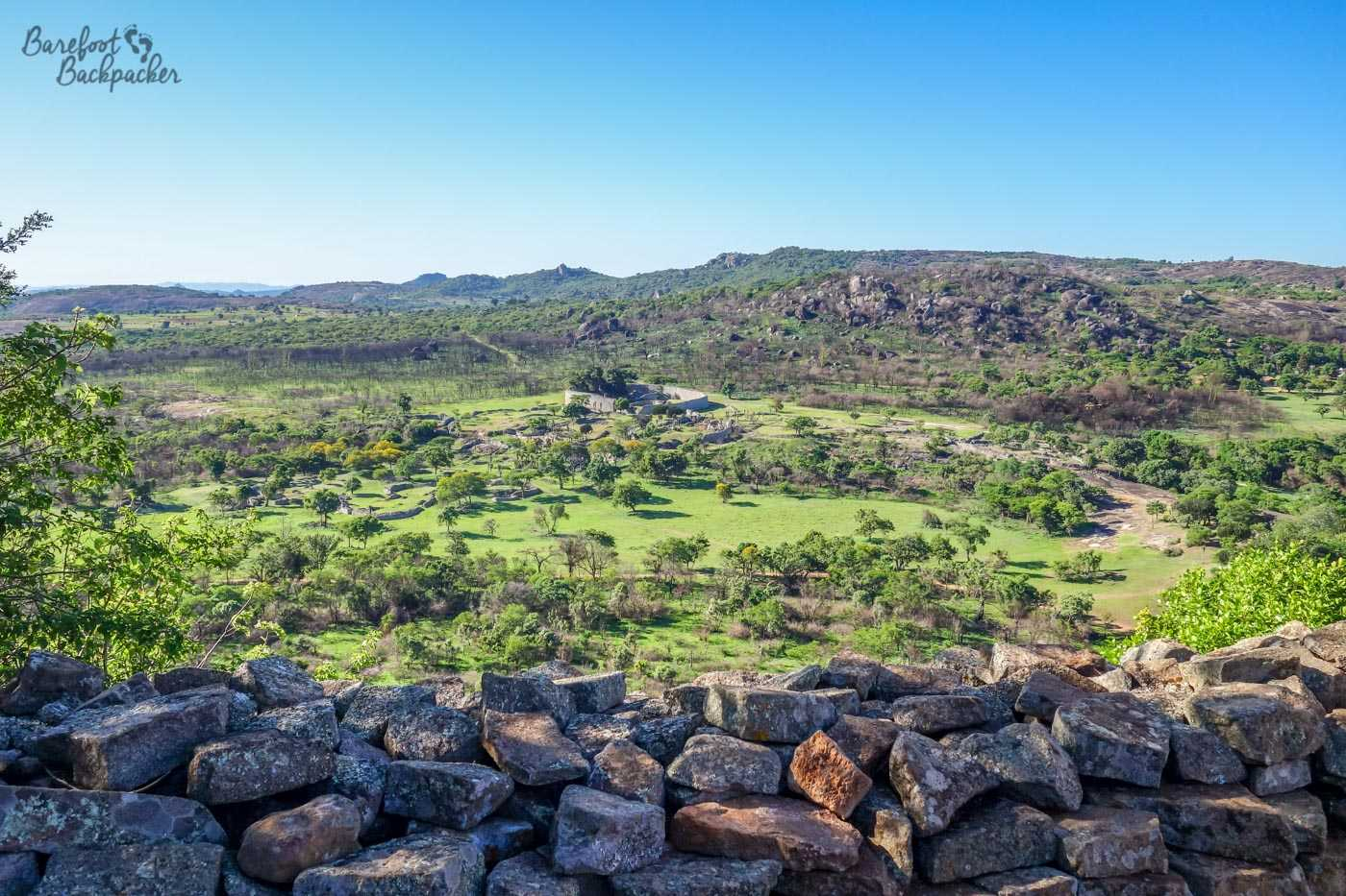 From the top of the Hill Complex, this is looking out over the Valley area and the plains on which the rest of Great Zimbabwe was built.