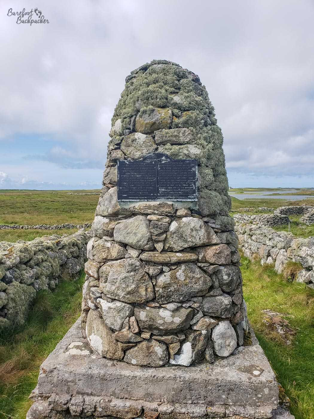 Cairn at the site of Flora MacDonald's house on South Uist