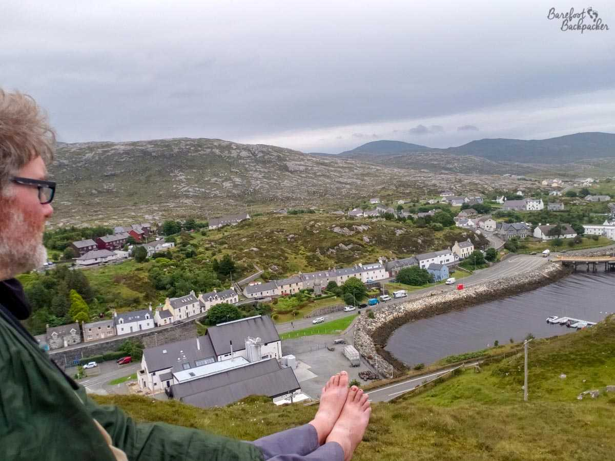The highest I climbed on Harris, looking out over the village of Tarbert. Rare selfie. Warning, contains bare feet.
