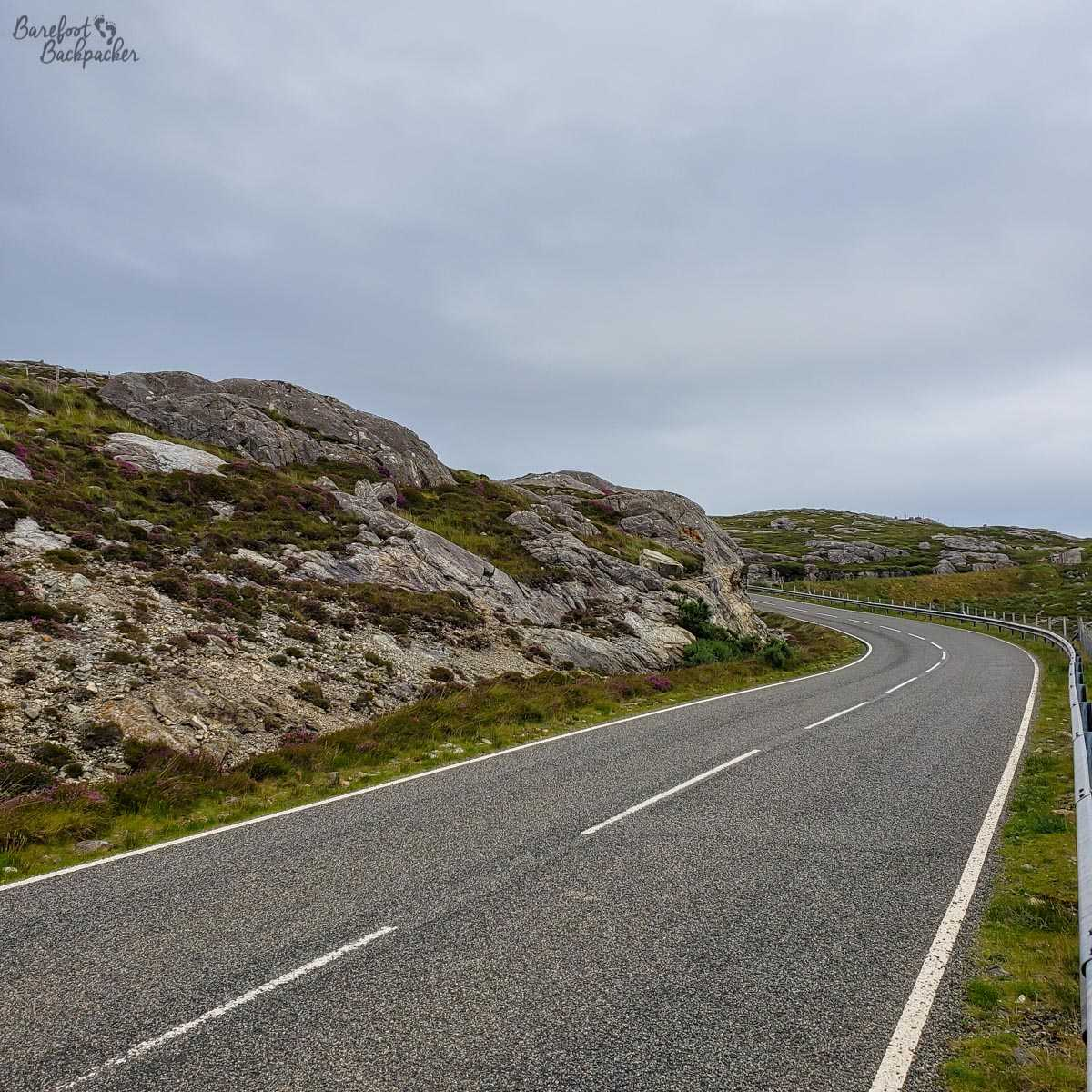 Road in Harris going through a landscape of Lewisian Gneiss.