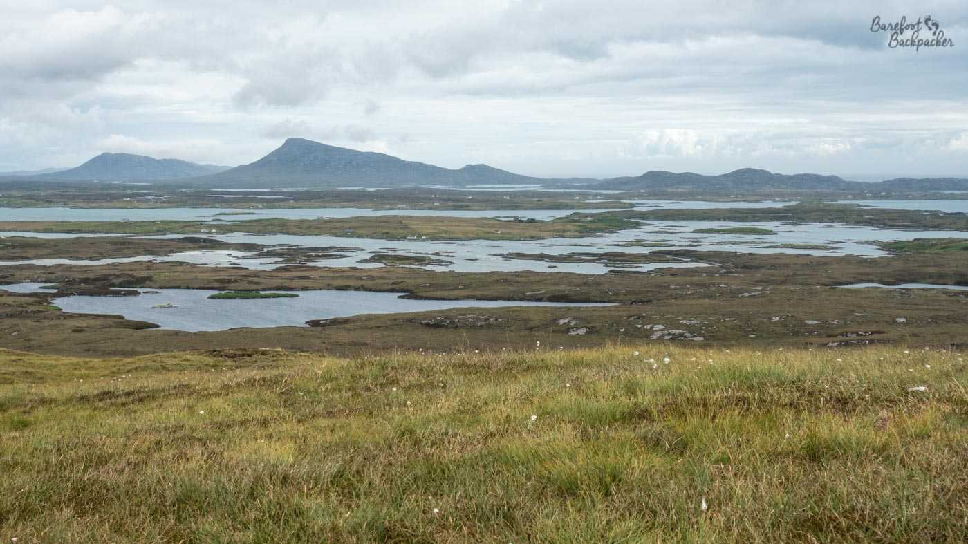 Looking out over the floodplains, presumably of the islands between Benbecula and North Uist, from Ruabhal hill