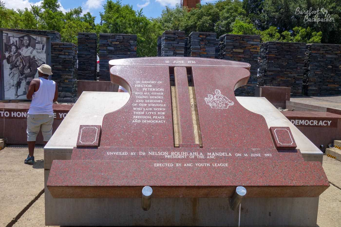 Memorial to Hector Pieterson, in Soweto – 'In memory of all young people who have laid down their lives for freedom'.
