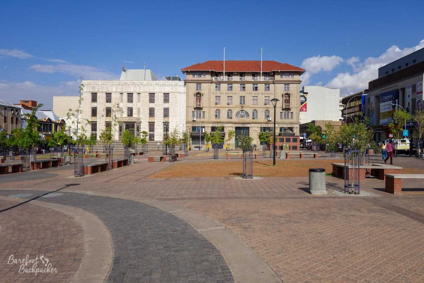 The main square in the centre of Bloemfontein