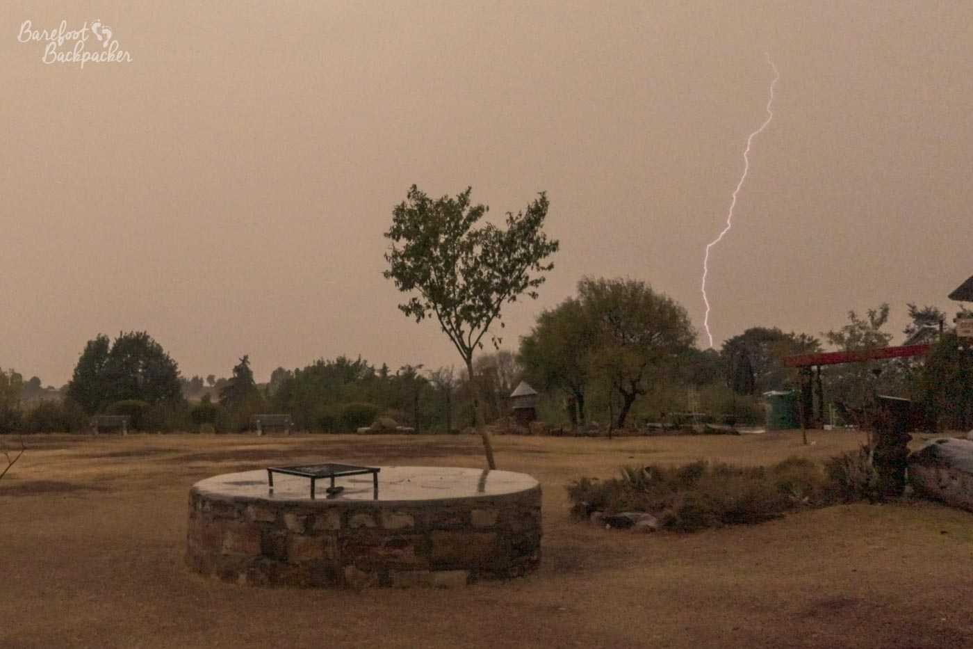 Lightning bolt during a heavy storm in Malealea, Lesotho