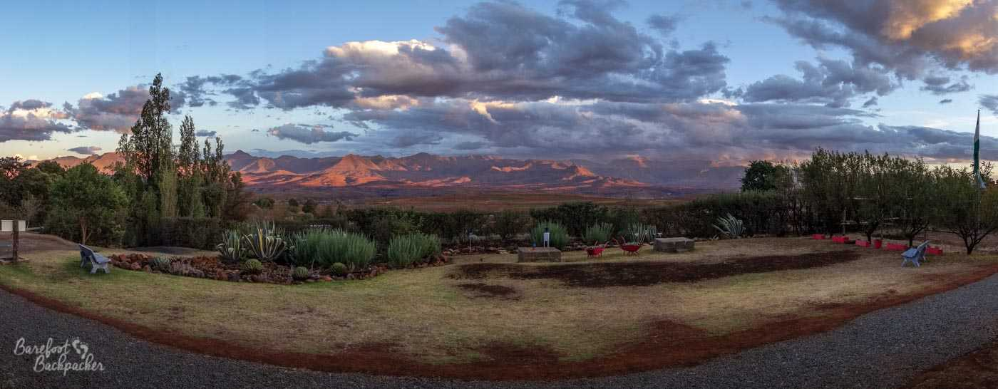 View from the hammock at dusk, looking out over the distant mountains of Lesotho.
