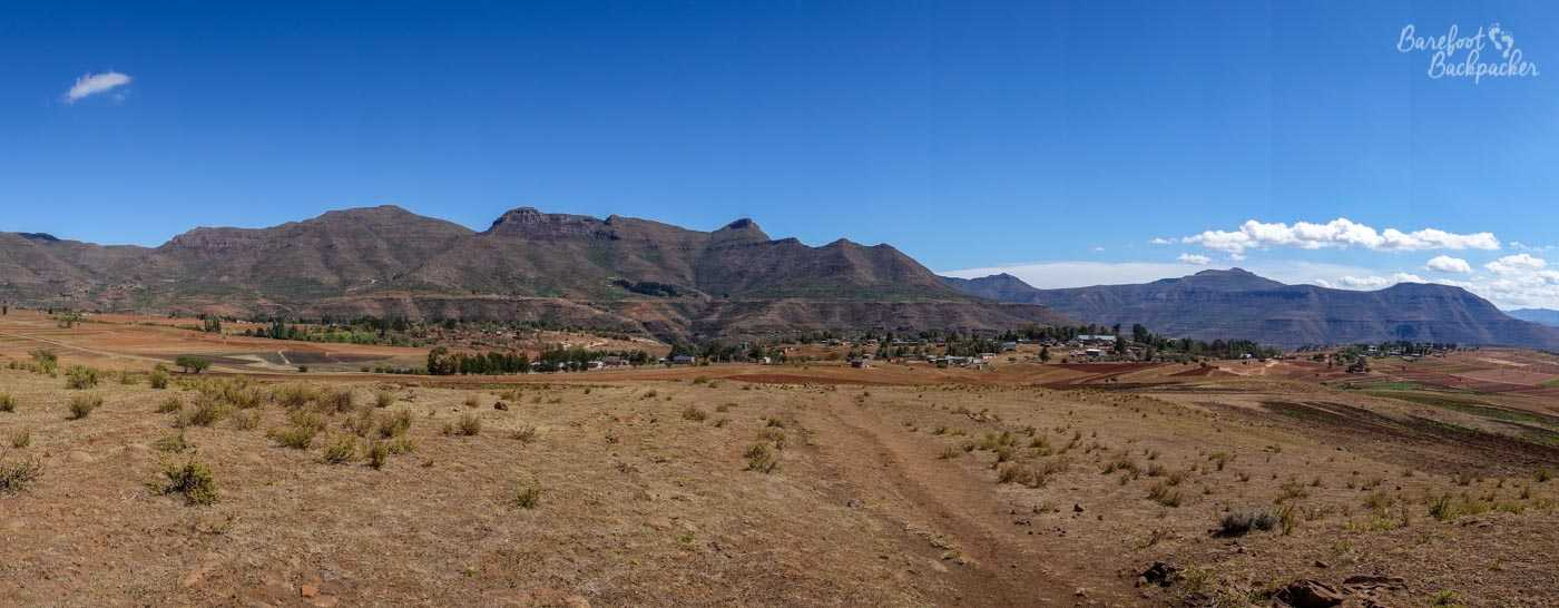 Typical scenery of Lesotho; mountains and wide open spaces.