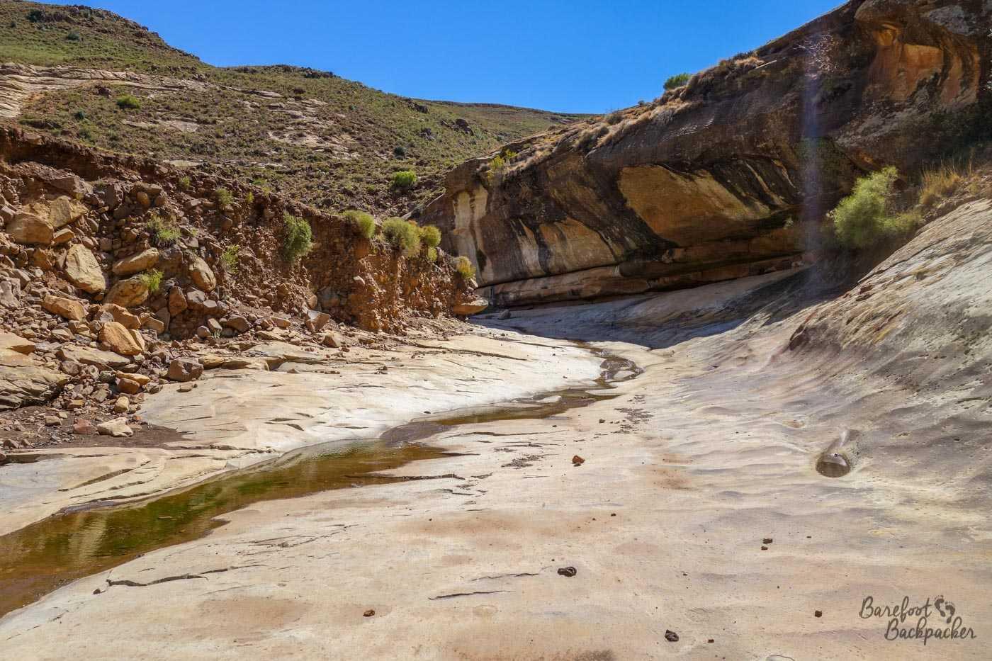 Hiking along Pitseng Gorge, Lesotho.