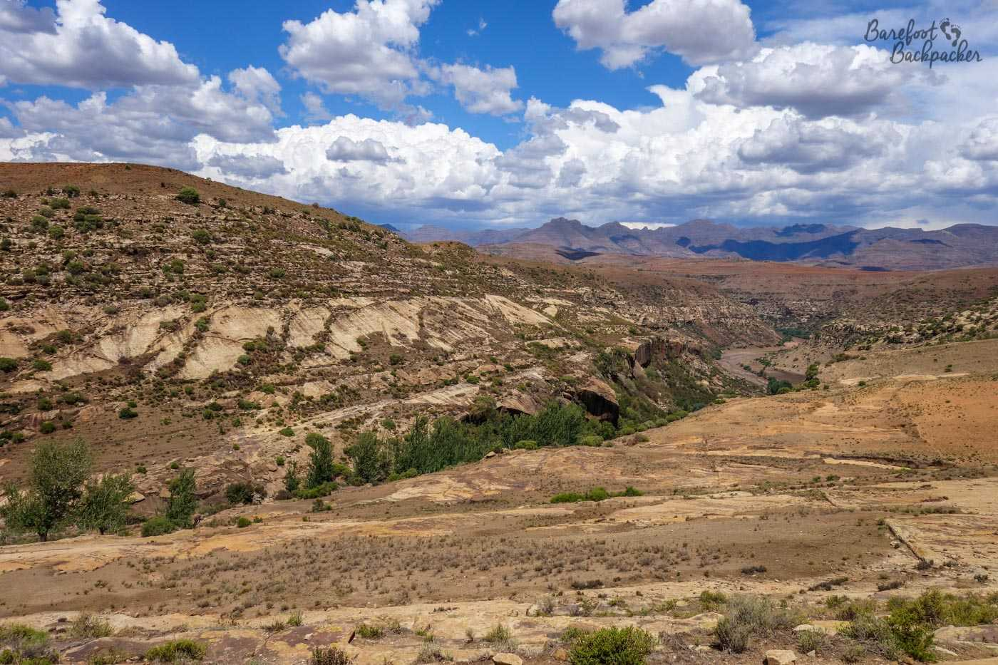 Hiking through the mountains in Lesotho.
