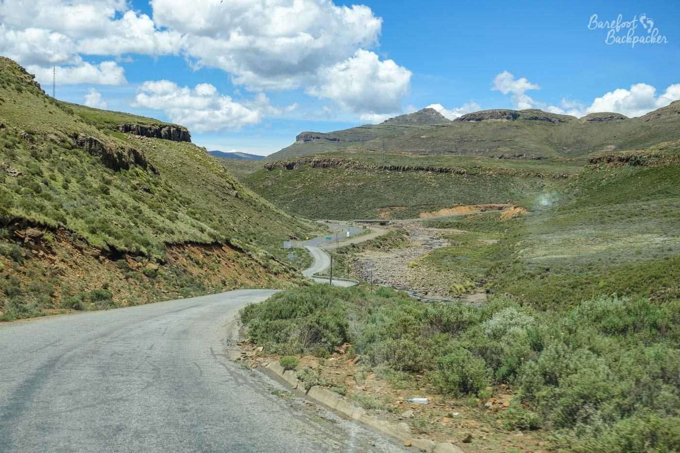 Scenery on the road from Maseru to Mokhotlong, Lesotho, taken from inside the minibus