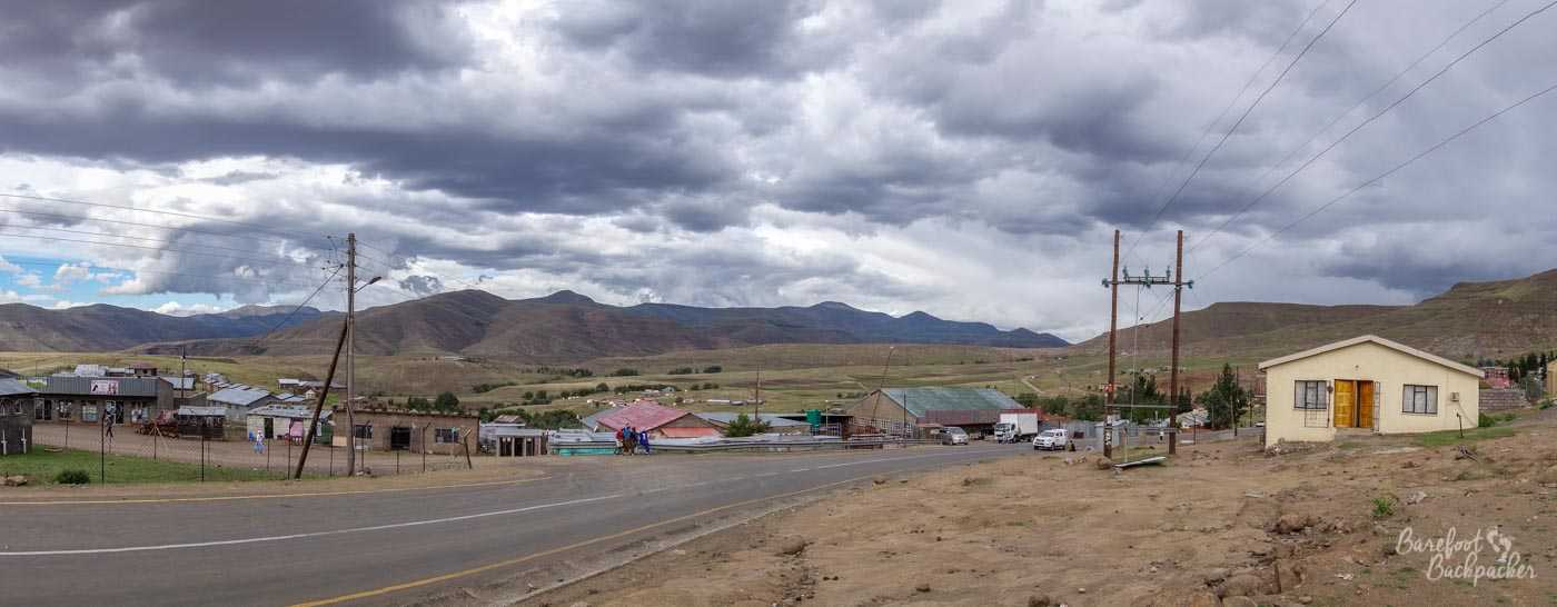 Panoramic overview of Mokhotlong town centre, Lesotho