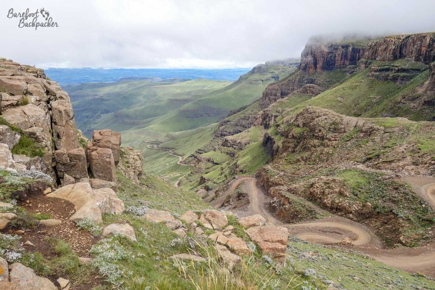 Looking out from the Sani Pass Lodge down the Sani Pass itself – the cloud has cleared and you can see the road winding downhill in its full glory.