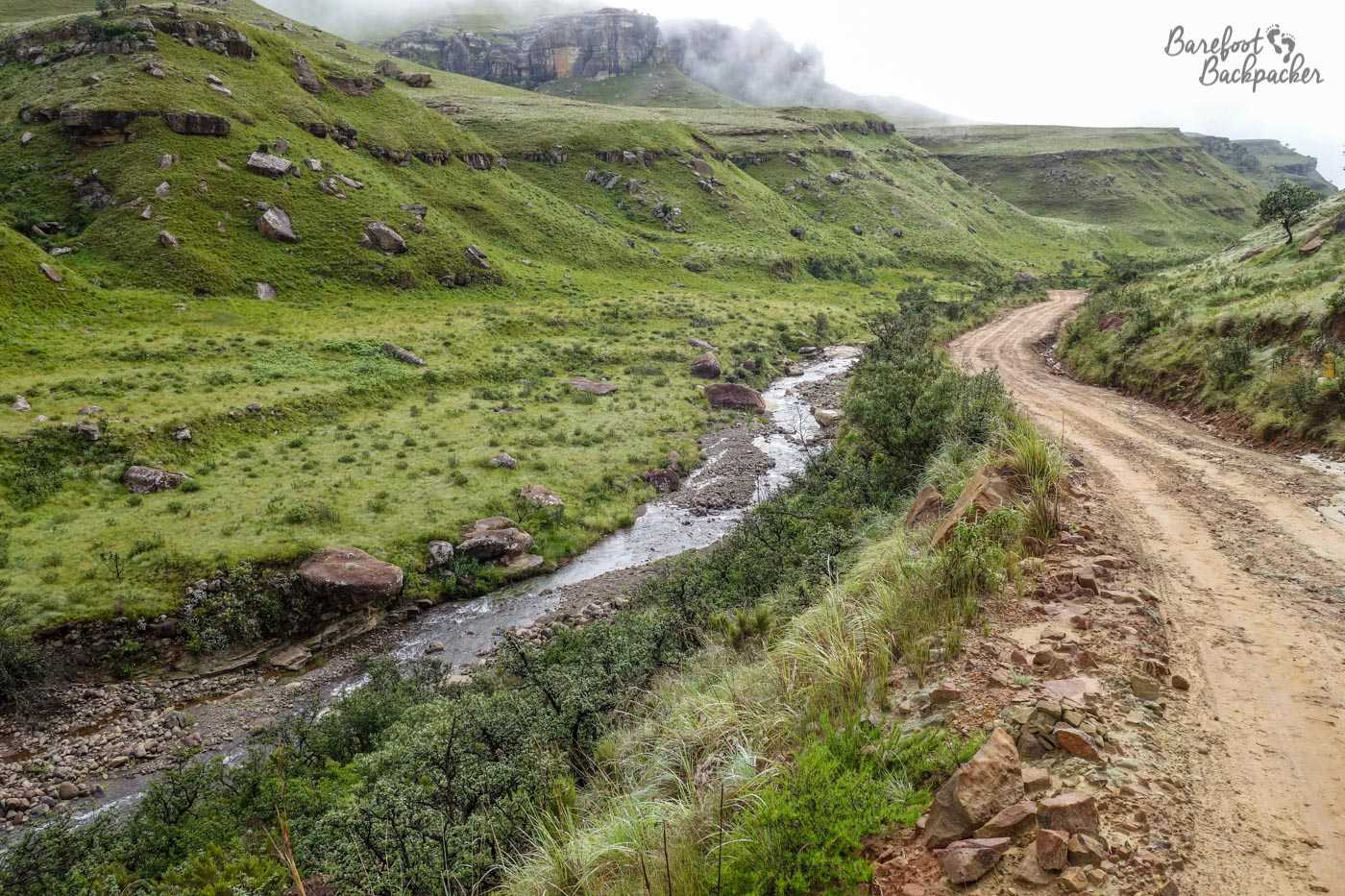 The Sani Pass has reached the flatter plains of South Africa. It's also now a complete mud-heap. Hopefully this is no longer the case.