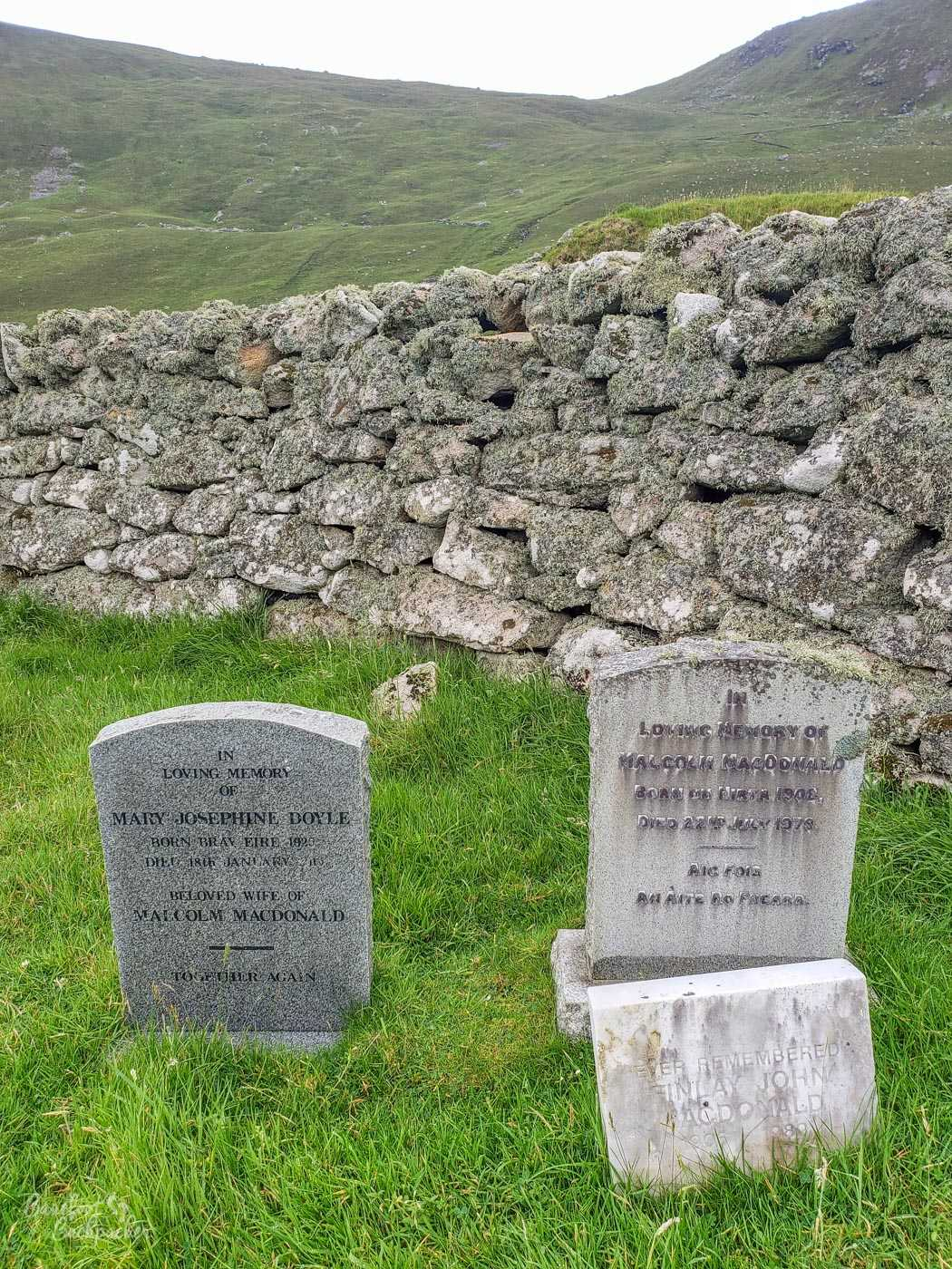 Two graves on the graveyard on Hirta, St Kilda.