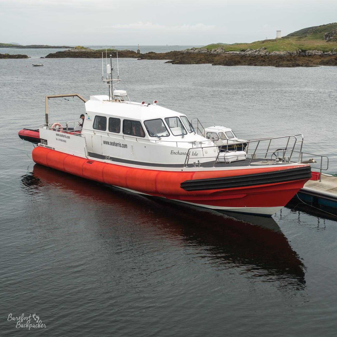 The boat that took me to St Kilda, in Leverburgh harbour.