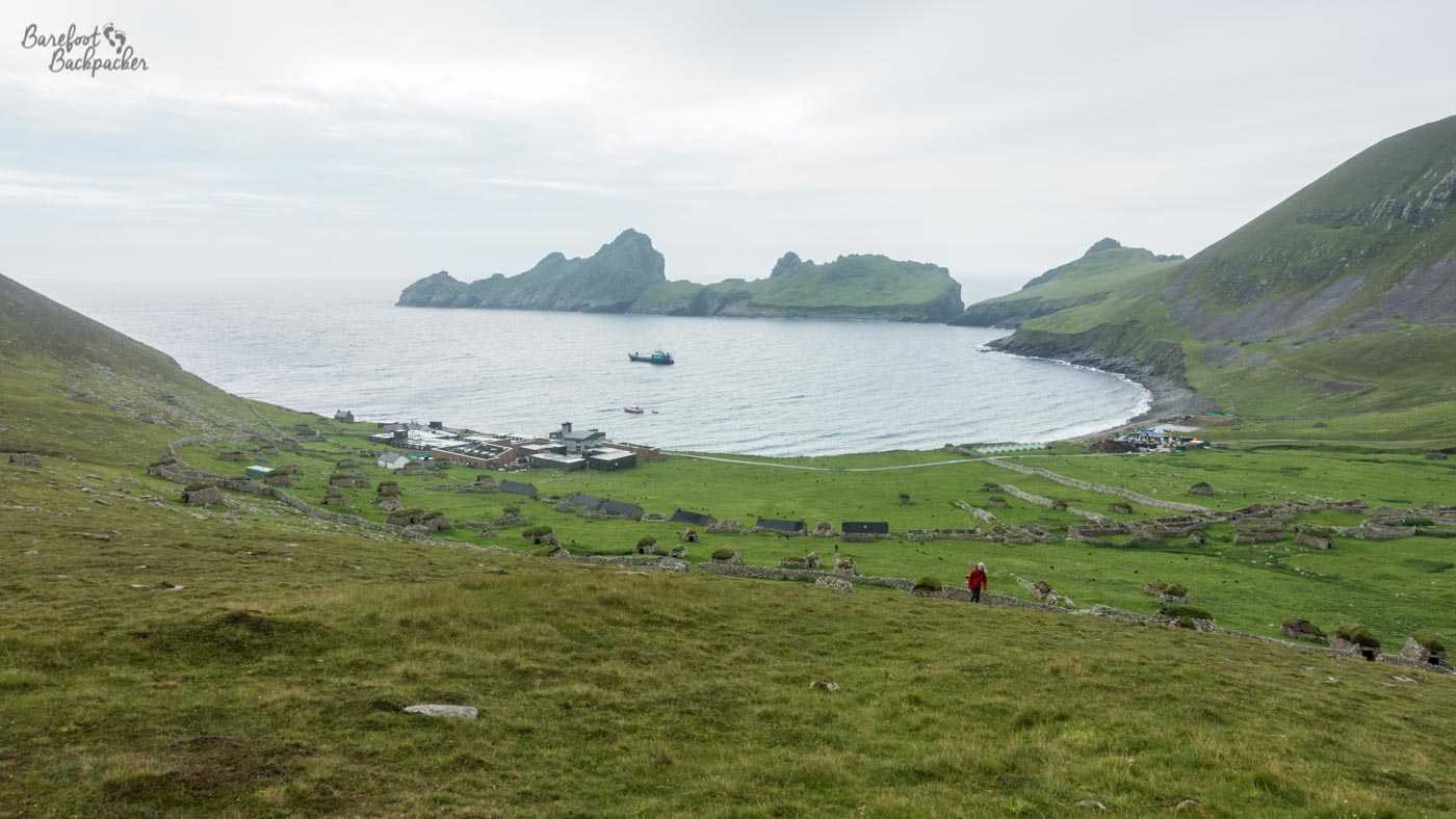 The settlement of Hirta, as seen from the top of a nearby hill. The bay curves around to the right forming a natural harbour.