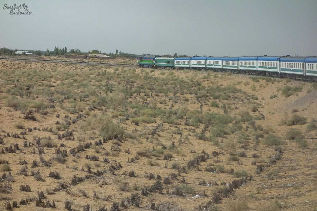 A train strolling around a sweeping curve as it passes through the dry plains of Uzbekistan. The photo is taken from near the rear of the train and you get a sense of just how long the train is. It's also an ugly shade of green.