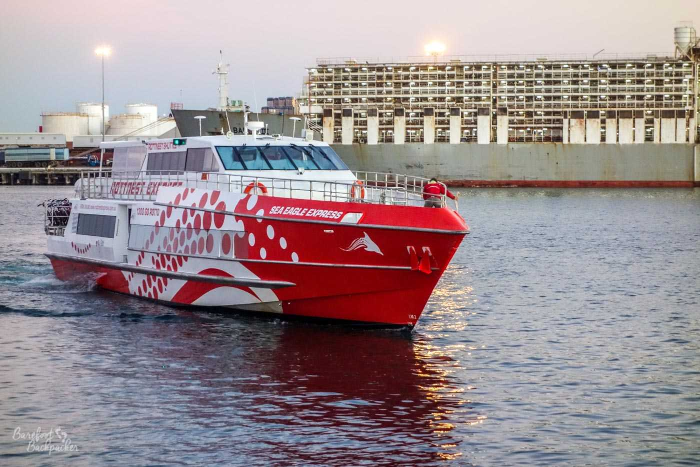 The ferry in Fremantle harbour, that sailed to Rottnest Island. It's big and red.