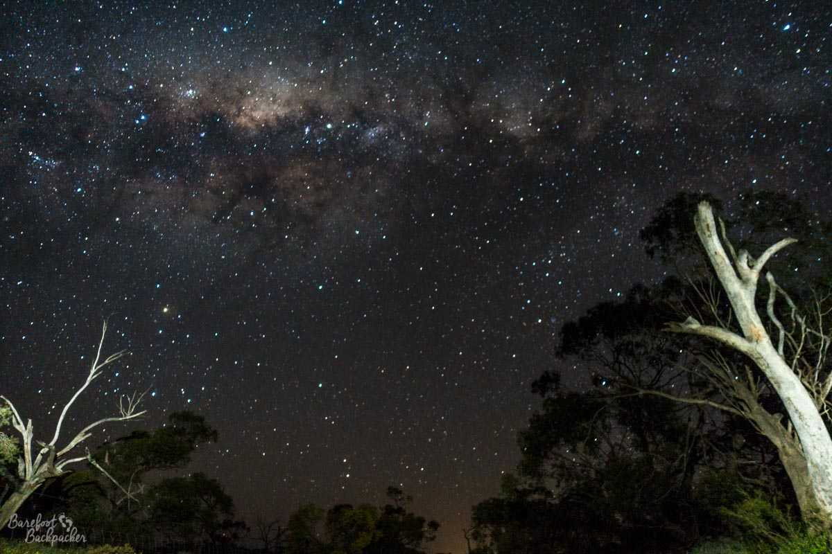 The night sky at Coalseam; a very clear view of the stars.