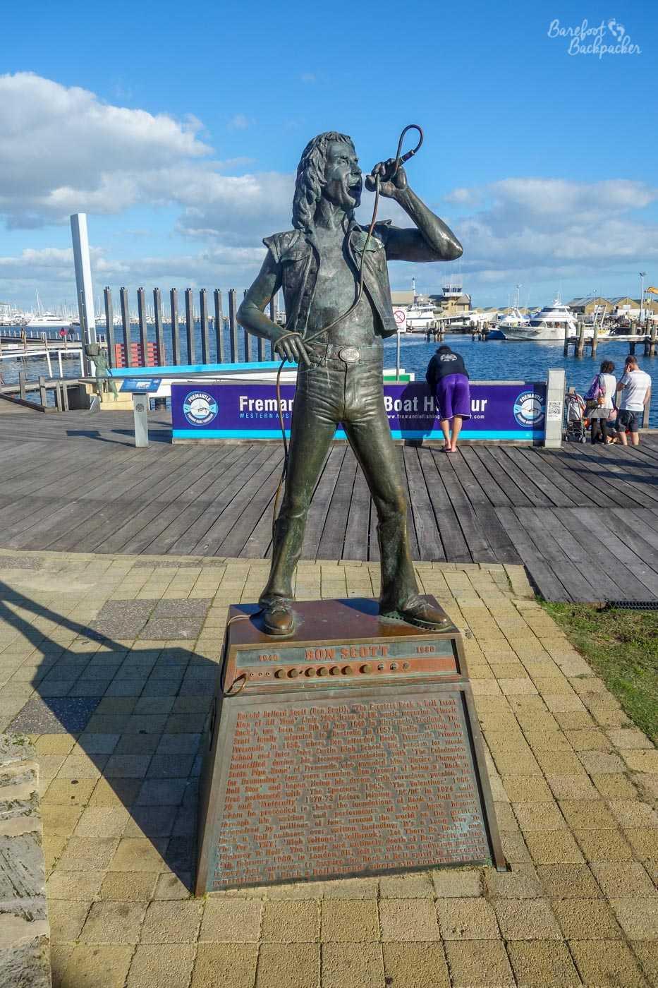 Statue of AC/DC vocalist/lyricist Bon Scott, who made Fremantle his home.