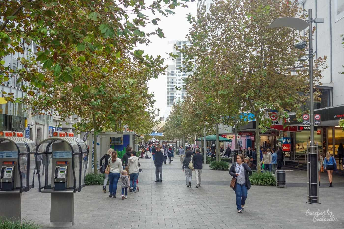 One of the typical shopping streets of Perth city centre