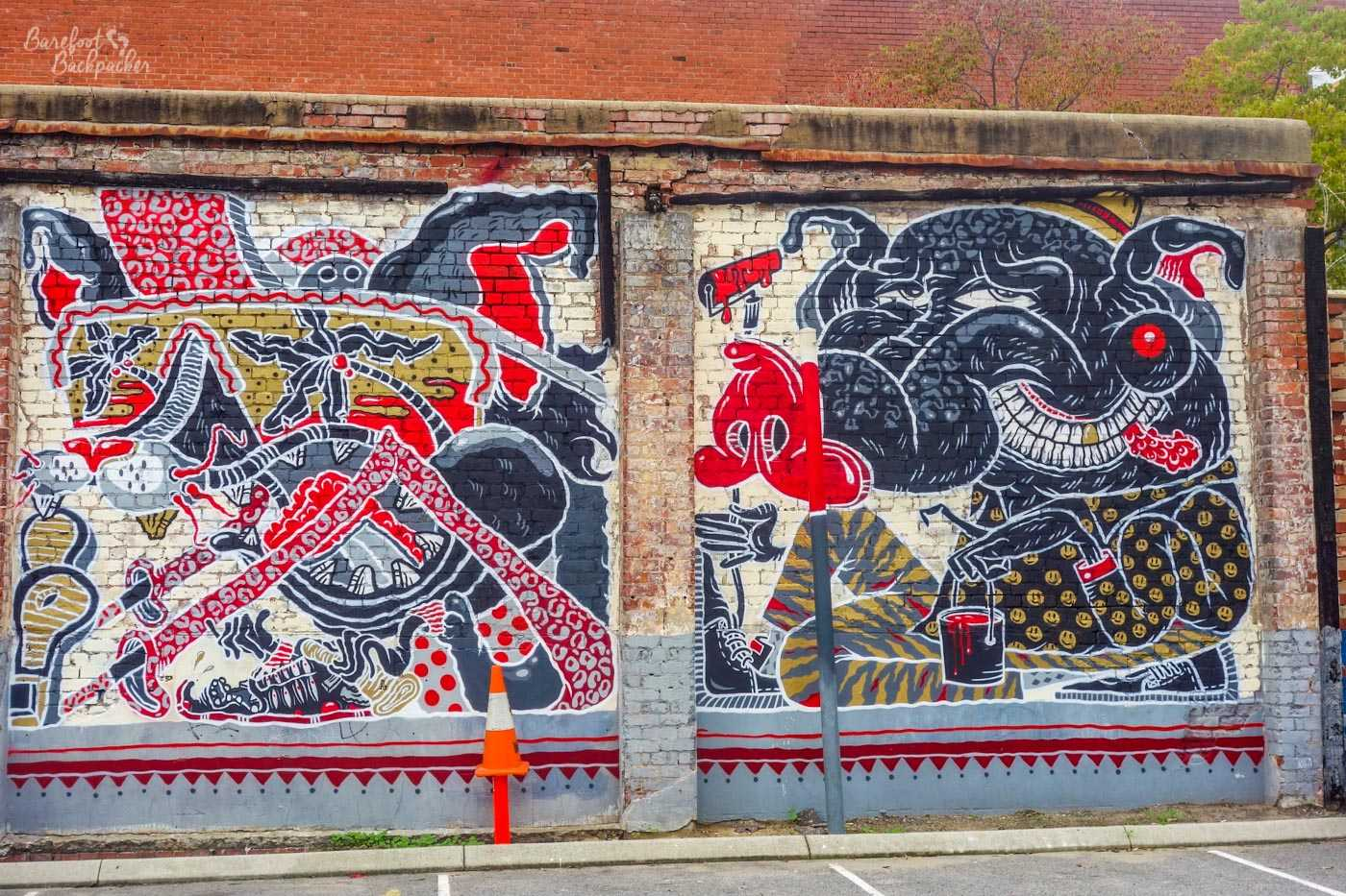Some weird street art on a wall I came across in Perth in 2014. I've no idea how to even describe it, it's weird, it's got monsters on it, that's about all I can feasibly say.