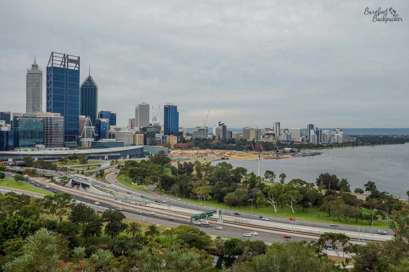 Overlooking Perth city centre from the edge of King's Park, 2014.