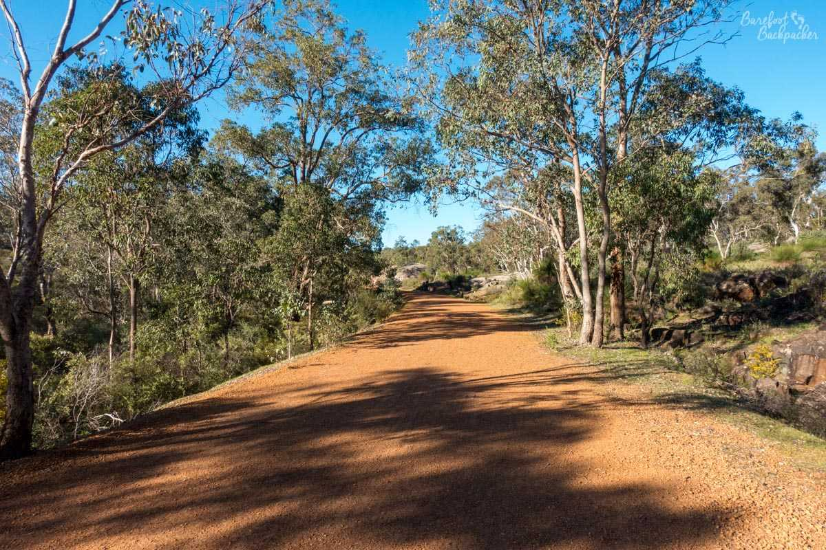 The path through John Forrest National Park. It's red gravel / dusty stone. There's trees either side, just past a drainage ditch.