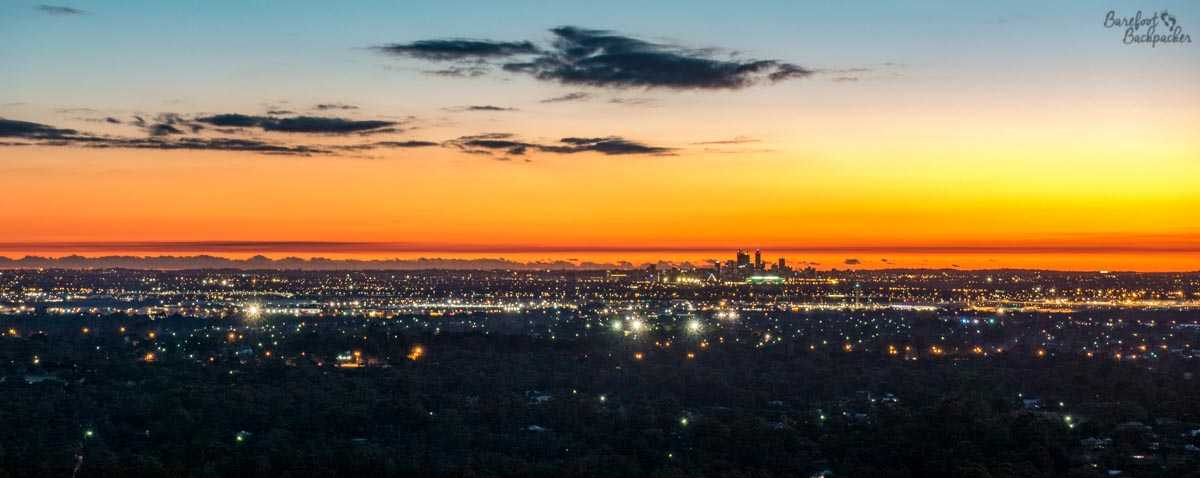 Sunset over Perth, taken from Zig Zag Road.