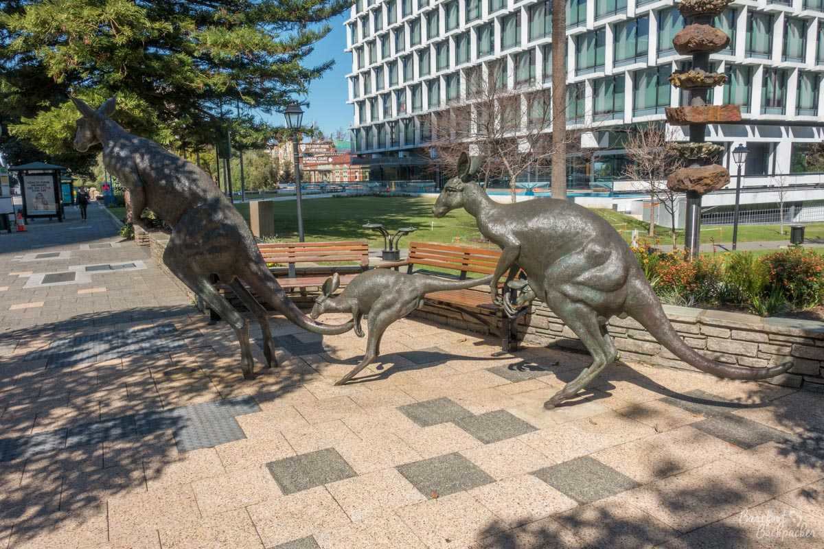 The kangaroo statues in Perth city centre, as seen in 2018.
