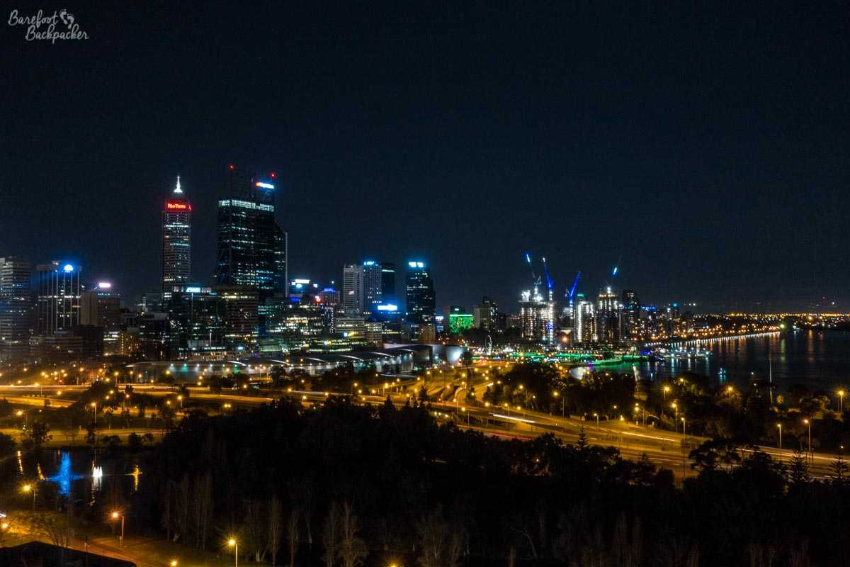 Overlooking Perth city centre from the edge of King's Park, 2018. At night.