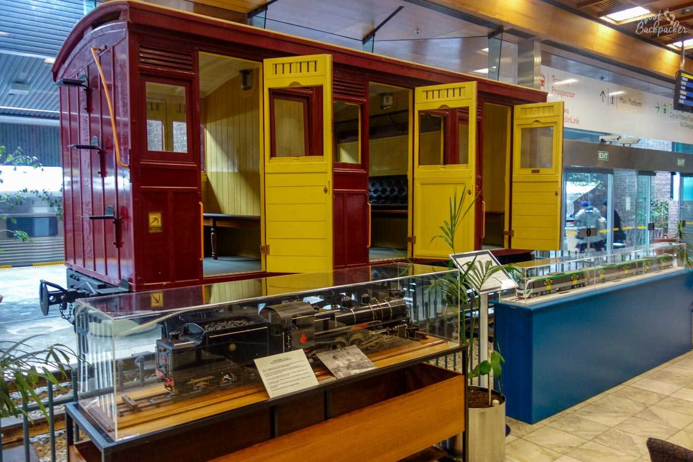 Replicas of an old steam engine and an old train carriage, at East Perth Railway Station.