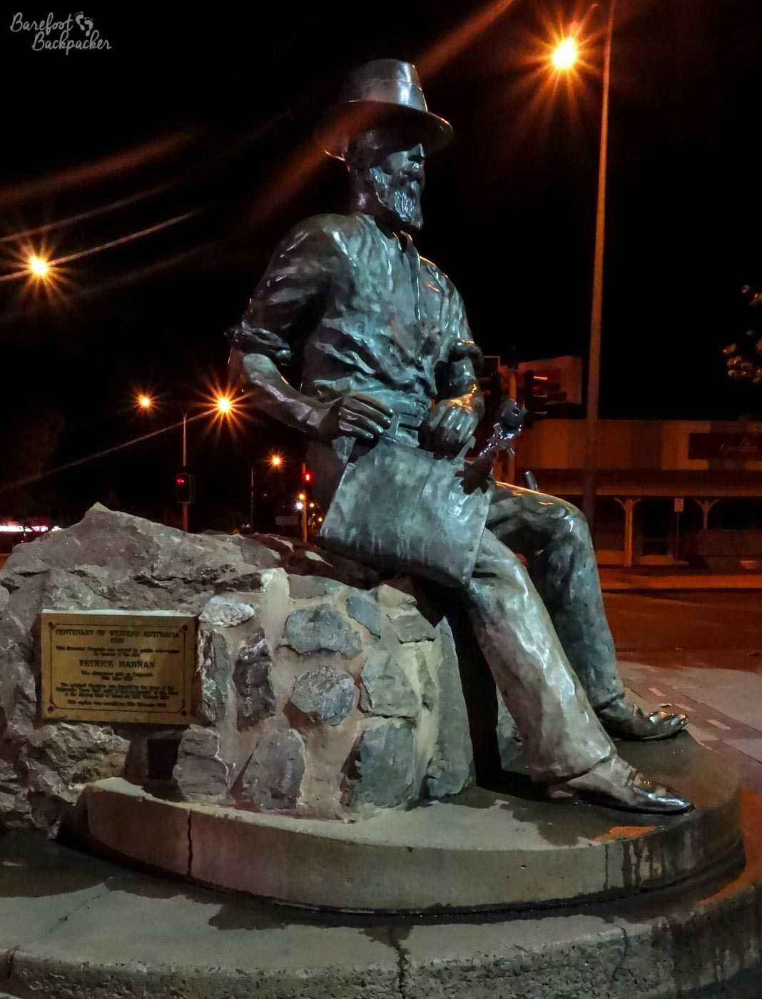 Statue - actually a memorial fountain - of Patrick Hannan, the founder of Kalgoorlie. He discovered gold here on 19 June 1893.