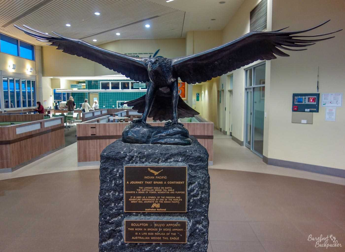 Sculpture of an eagle, by Silvio Apponyi, in Adelaide Parklands Railway Station. It's an Australian Wedge Tail Eagle (life-size), conveying a sense of power, momentum, and purpose, according to the info plaque just below it, and symbolising the freedom and adventure of the Indian Pacific rail journey. Whatever.