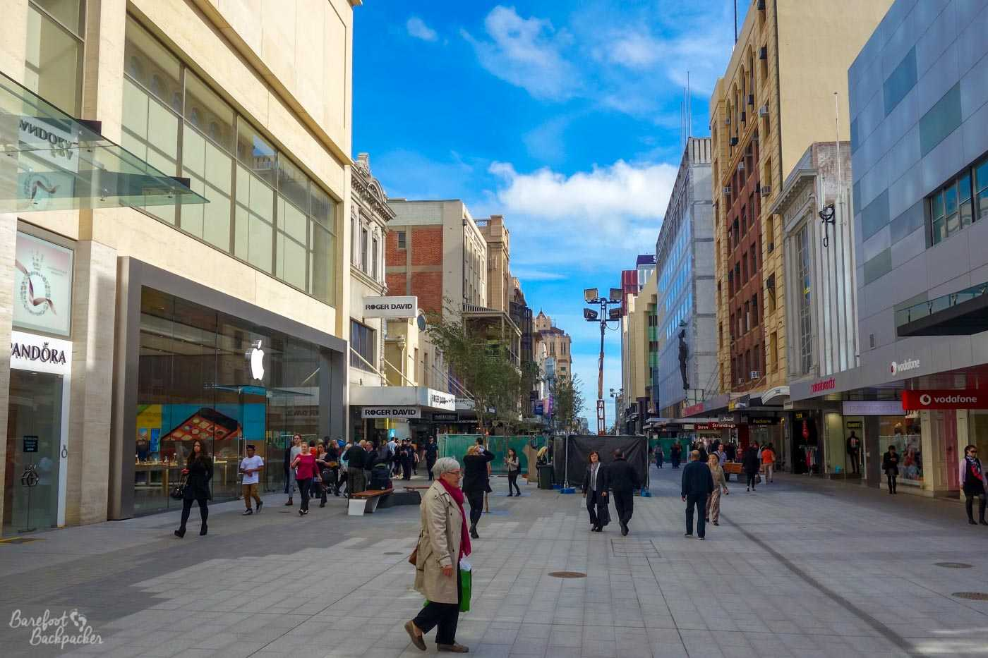 A shot down Rundle Mall. It's a typical pedestrianised city centre street, with shops either side. Could be anywhere in the UK, tbh, except it's not.