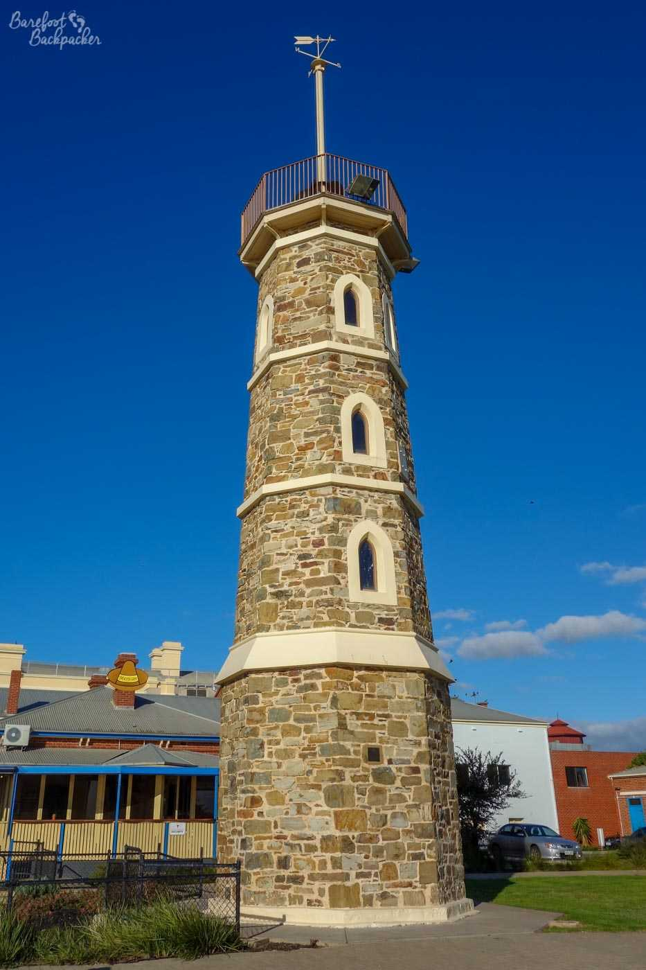 The time ball tower at Port Adelaide. A black ball was hoisted to the top at 12.57pm, and dropped at 1pm automatically by a signal from the nearby observatory. A way to mark the time in the days before wireless signals, never mind electronic personal timekeeping devices, it ceased being used in 1932. Other cities have cannon (like Edinburgh) for the same purpose.