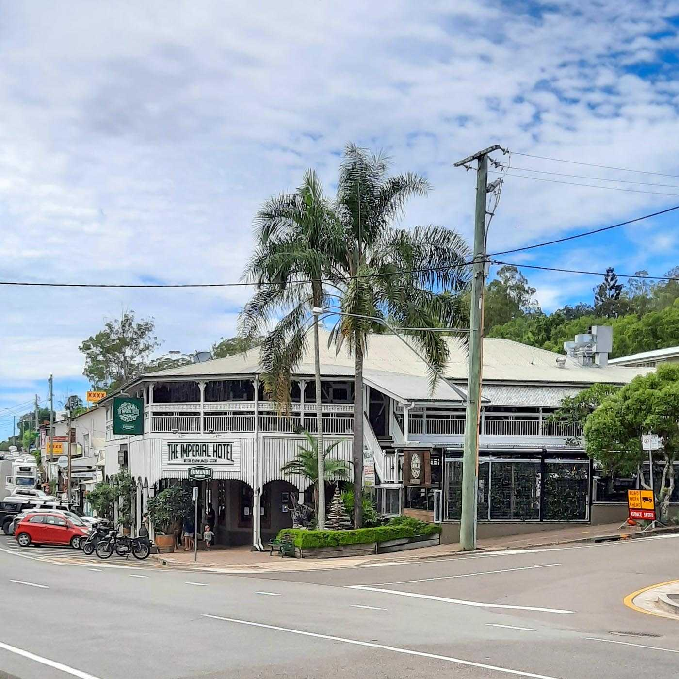 Eumundi Town. It has a certain old-fashioned vibe, similar to places like Montville/Maleny; that is to say the buildings have a kind of 'period' design in terms of balconies, roofing, wall design and colour, etc.