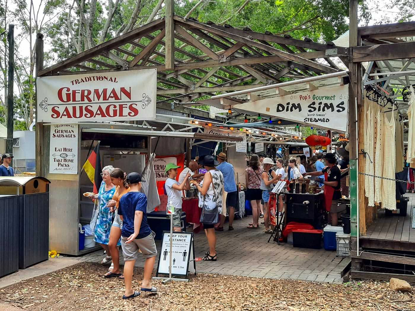 Food stalls at Eumundi Market.