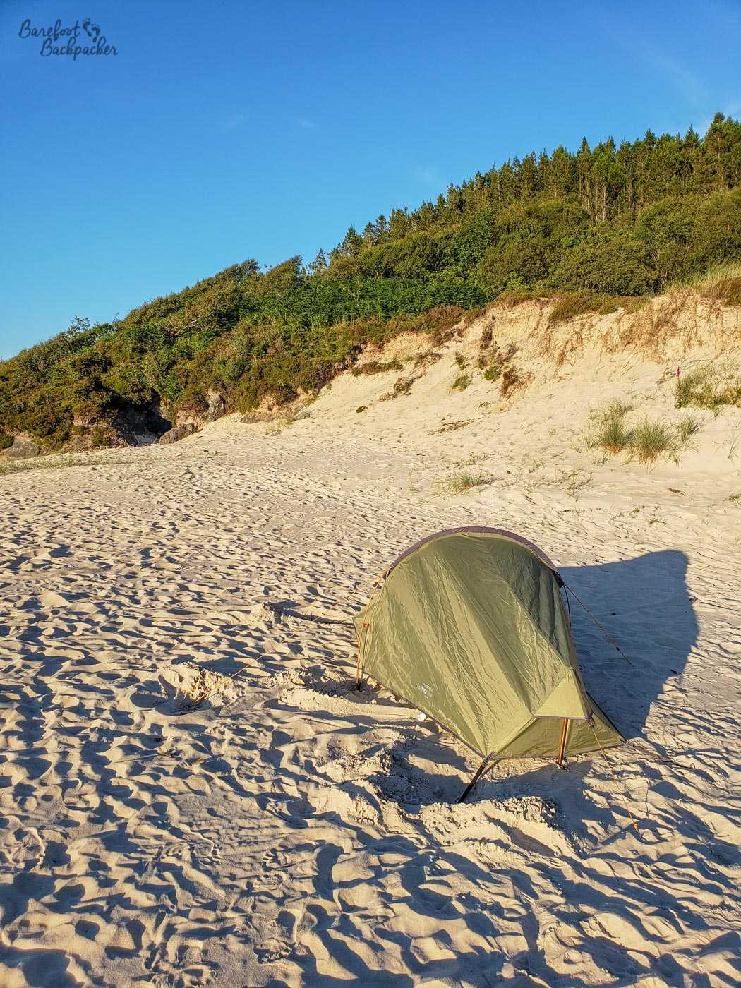 Green tent stands on pale sand, and behind, the land rises quite sharply, almost cliff-like, covered with shrub, tending to trees at the top. Completely blue sky. Lots of sunshine.