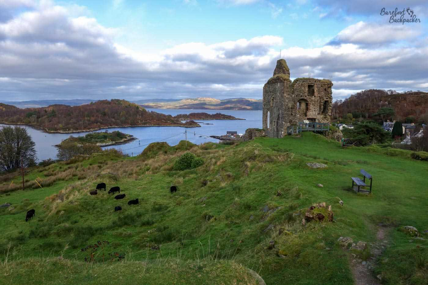 Ruins of a stone tower/castle on the right of shot, atop a green hill. Behind, and to the left, are the loch, some islands, and distant hills, mostly covered in trees.