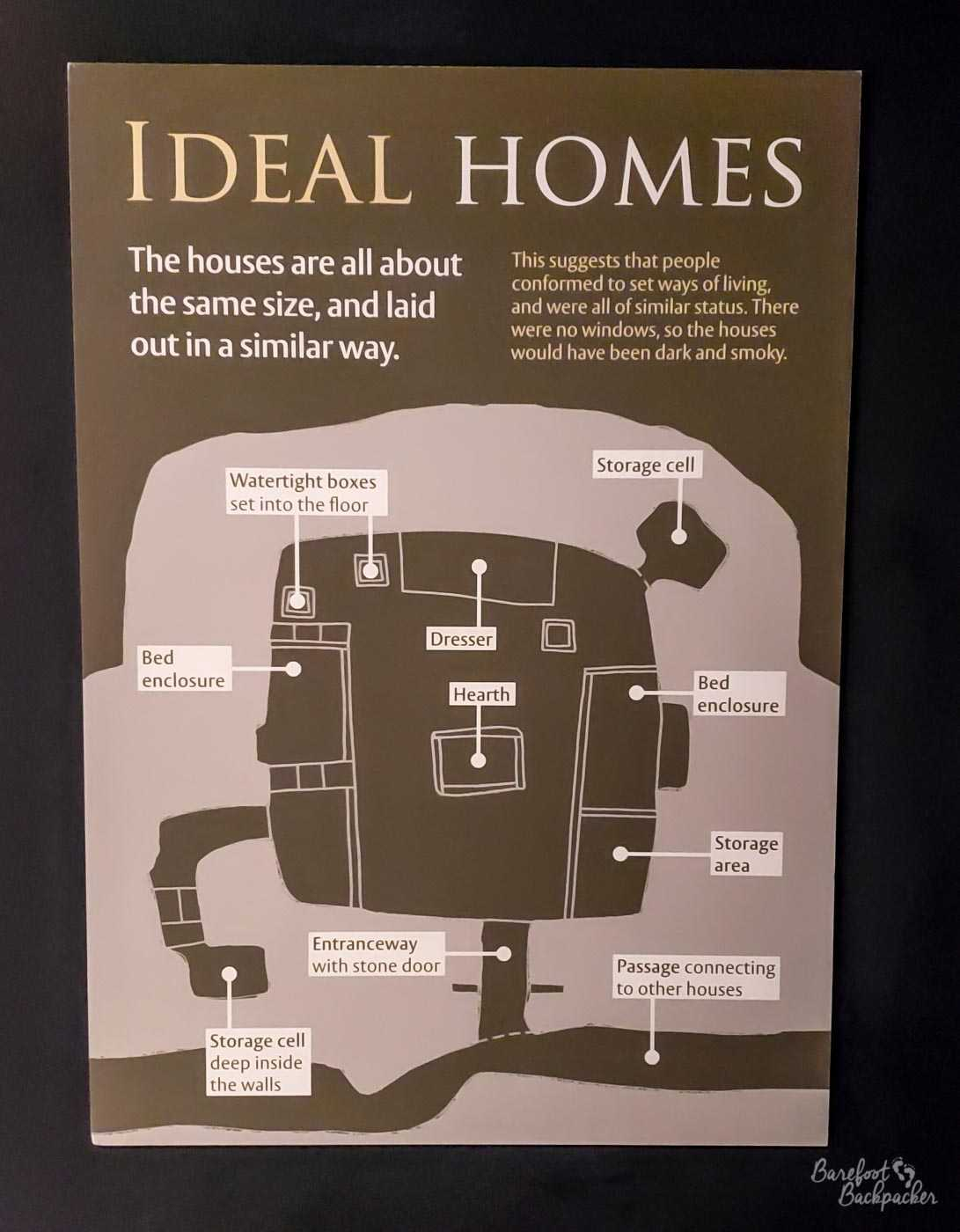 A floor plan of the standard rooms, as seen on an info board in the museum. It tells you the houses were all built to the same size and laid out in the same way. It also says that this suggests that people were all of a similar status and conformed to the same way of living. The final observation is the houses had no windows and therefore would have been quite smokey and dark. The layout of the houses are a central room with a hearth, two 'bedrooms' on either side, and a couple of storage cells, one set a short way deep into the wall. There would also have been a couple of watertight boxes set into the floor.