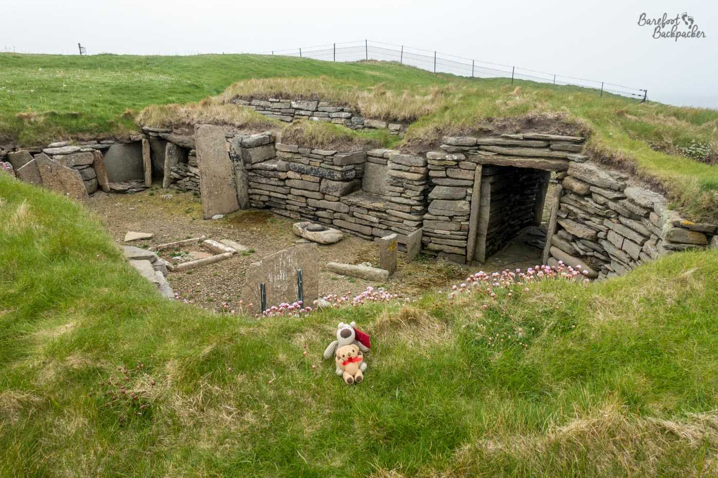 View from the other side of the Knap of Howar. The walls can be seen made up of flat stones laid horizontally. In front of the sunken house are some purple flowers, and in front of that are two small soft toys because Baby Ian and Dave wanted a selfie.